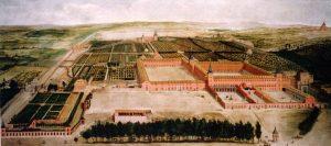 El palacio del Buen Retiro era la segundo residencia y lugar de recreo de Felipe IV. En la actualidad, los vestigios más conocidos del real sitio son sus antiguos jardines, que, muy transformados, hoy conforman el parque del Retiro.