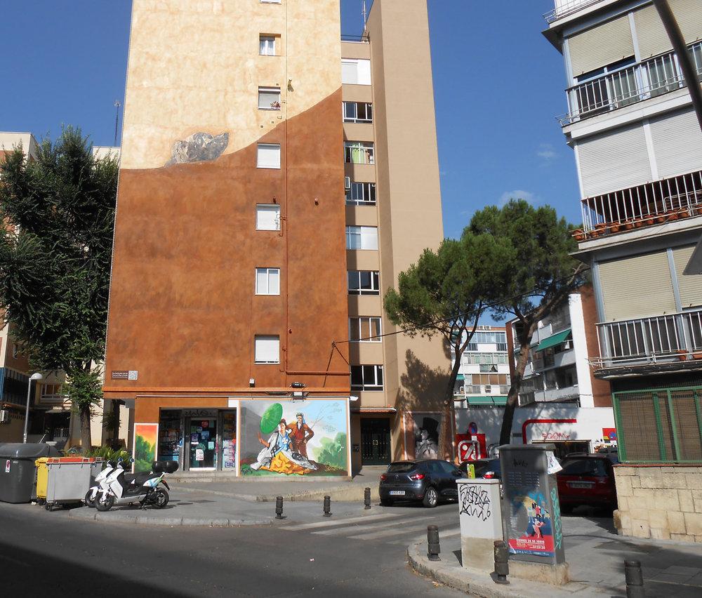Mural con la pintura de Goya en la calle Caramuel