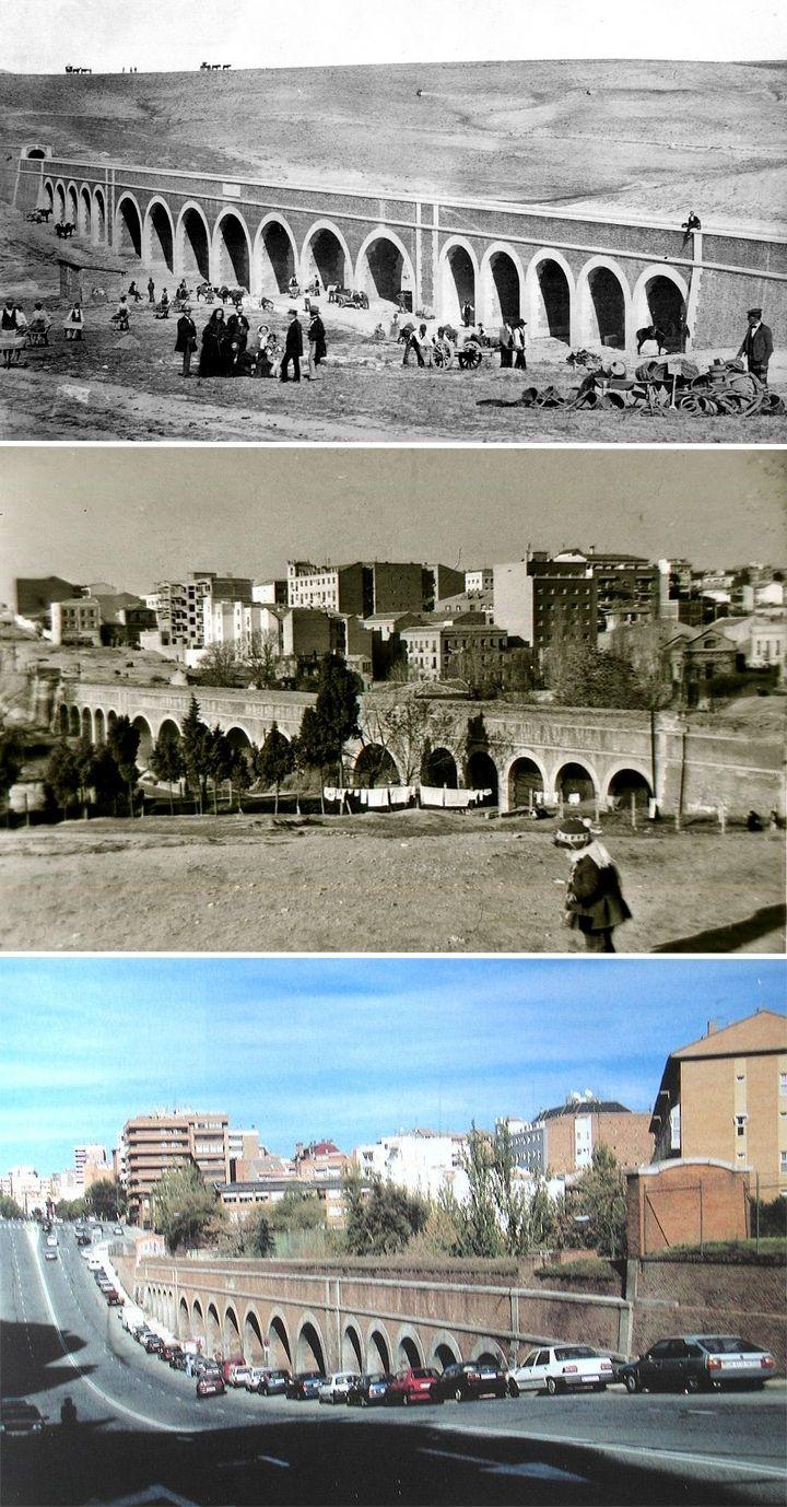 Acueducto de Amaniel en 1856, 1956 y en la actualidad